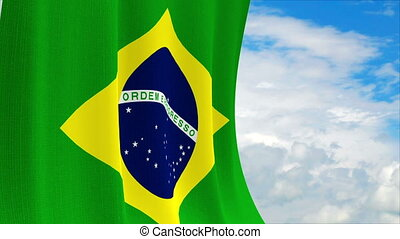 Brazilian flag on a sky background