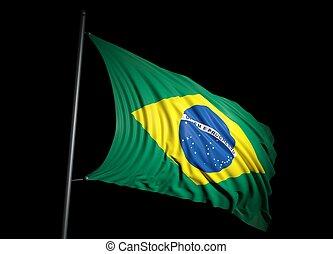 Brazilian flag on black background