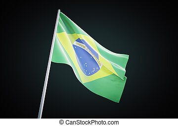 Brazilian flag on black background
