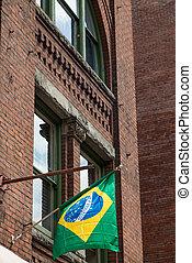 Brazilian Flag on Old Brick