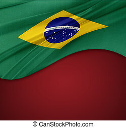 Brazilian flag on red background