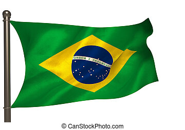 Brazilian flag on white background