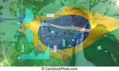 Animation of financial data processing with a Brazilian flag waving over construction site worker in the background. Global business finance network interface concept digital composite