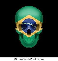 Brazilian flag skull