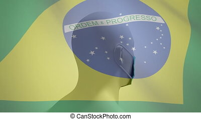 Animation of Brazilian flag waving over a 3D human head model wearing a face mask and spinning. Covid-19 coronavirus national health safety concept digital composite