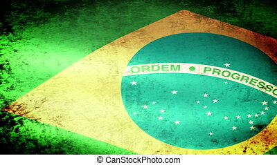 Brazilian Flag Waving, grunge