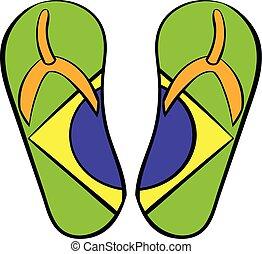 Brazilian flip flops icon cartoon