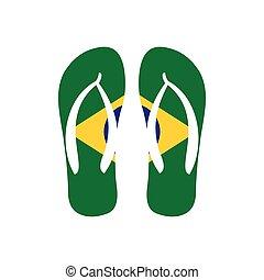 Brazilian flip flops icon, flat style