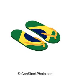 Brazilian flip flops icon, isometric 3d style