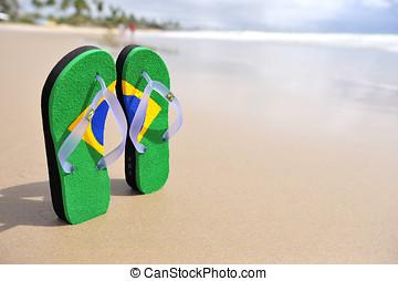 Brazilian flipflop - Brazilian flip-flop on the beach in ...