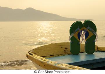 Brazilian Flipflop on the beach in Ilhabela, Sao Paulo state...