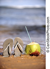 Brazilian Flipflop   - Brazilian Flipflop with a coconut