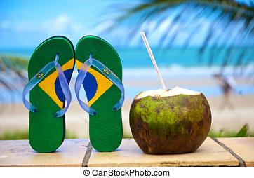 Brazilian flipflop - Brazilian flip-flop on the beach in...