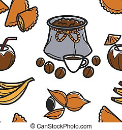 Brazilian food and drink seamless pattern coffee fruits and...