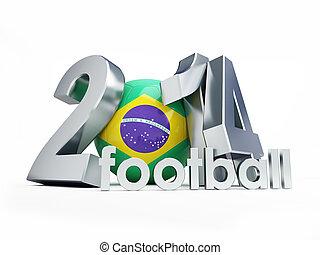 Brazilian football 2014 on a white background