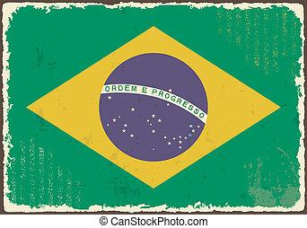 Brazilian grunge flag. Vector illustration