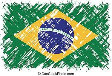 Brazilian grunge flag. Vector illustration.