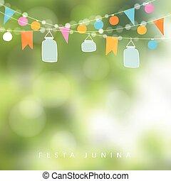 Brazilian june party,  festa junina. String of lights, jar lanterns. Birthday party decoration. Blurred vector background.