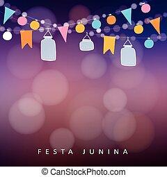 Brazilian june party,  festa junina. String of lights, jar lanterns. Party decoration. Birthday garden party. Sunset blurred vec