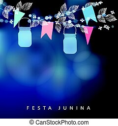 Brazilian June party, festa junina. String of lights, mason jar lanterns and paper flags. Midsummer garland of leaves and flowers. Party decoration. Birthday garden party. Blurred vector background.
