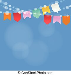 Brazilian june party. Festa junina. String of lights, party flags.  Summer party decoration. Festive blurred background. vector
