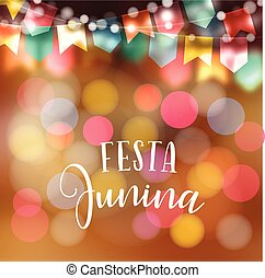 Brazilian june party, midsummer celebration or summer garden party. Vector illustration background with garland of lights and colorful flags.