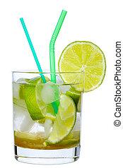 Caipirinha - Brazilian Lime Cocktail Caipirinha isolated on...