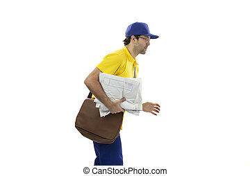 Brazilian mailman on a white background.