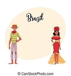 Brazilian man in Festa Junina suit, woman wearing samba dress