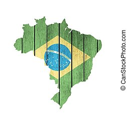 Brazilian Map With Wooden Flag