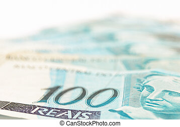 Brazilian Money - Hundred\\\'s of Brazilian real currency...