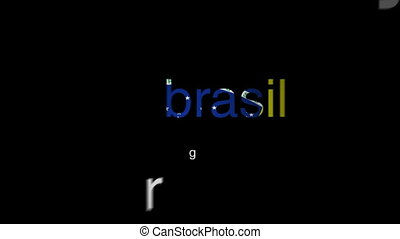 Popular Brazilian words arranging themselves into the territory of the country Brazil.