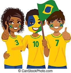 Brazilian Soccer Fans - Young Brazilian soccer fans cheering...