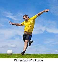 Brazilian soccer football player kicking the ball  professionall