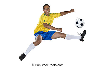 Brazilian Soccer player, jumping