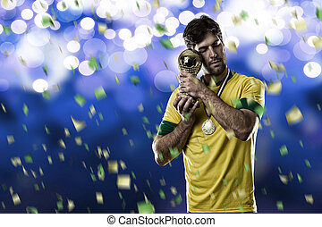 Brazilian soccer player, celebrating the championship with a...