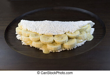 Tapioca de banana - Brazilian traditional food. Tapioca de...