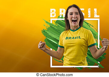 Brazilian woman fan, celebrating