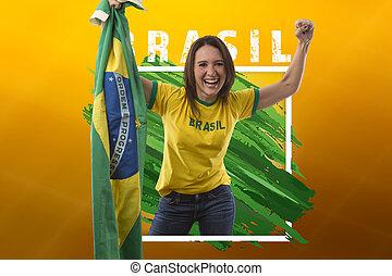 Brazilian woman fan, celebrating