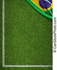 brazilie, akker, vlag, voetbal