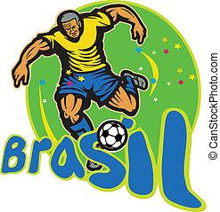 brazilie, bal speler, voetbal, schoppen, retro