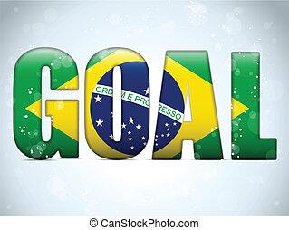 brazilie, brieven, doel, vlag, braziliaans, 2014, voetbal