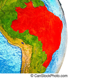 brazilie, kaart, 3d, aarde
