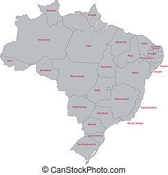 brazilie, kaart, grijze