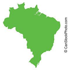 brazilie, kaart, groene