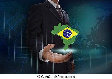 brazilie, kaart, het tonen, achtergrond, zakenman, globe