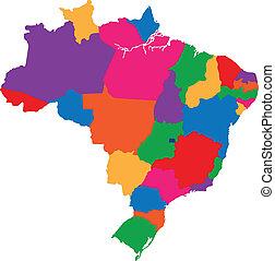brazilie, kaart, kleurrijke