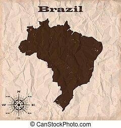 brazilie, kaart, verfrommeld, oud, paper., illustratie, vector, grunge