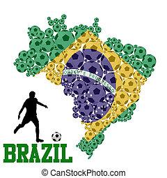 brazilie, kaart, vorm, bal, voetbal