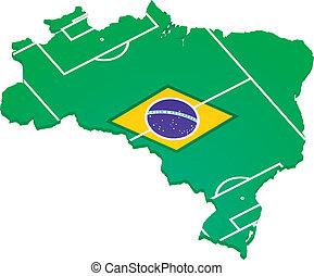 brazilie, met, vlag, en, footballfield